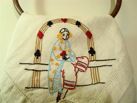 Linen Bridge Cloth, Embroidery Vintage Card Suits Cutter