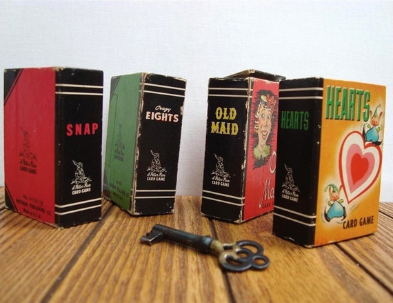Mini Cards Vintage Whitman Old Maid, Snap, Hearts, Crazy Eights, Four Games 1950s