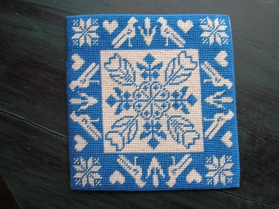 Needlepoint Miniature Dollhouse Rug Blue and White