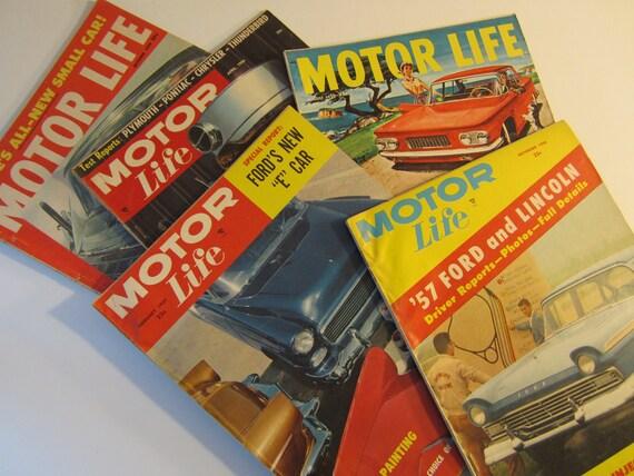5 Vintage Motor Life Car Magazines Auto 1950's