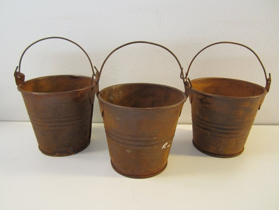 3 new rusty tin pails buckets metal crafts by cottagewhimsies
