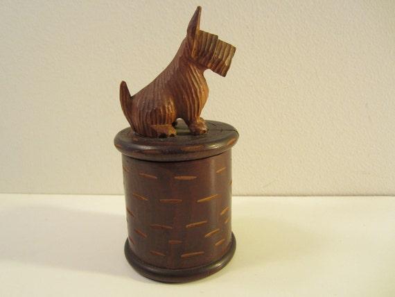 Carved Wood Scottie Dog on Trinket Box  Vintage