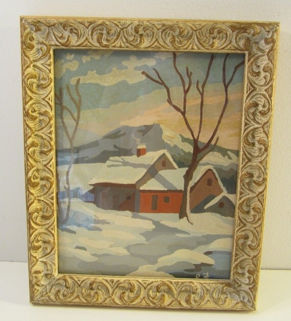 CIJ SALE  Vintage Paint by Number Picture  Framed and Signed Winter Scene