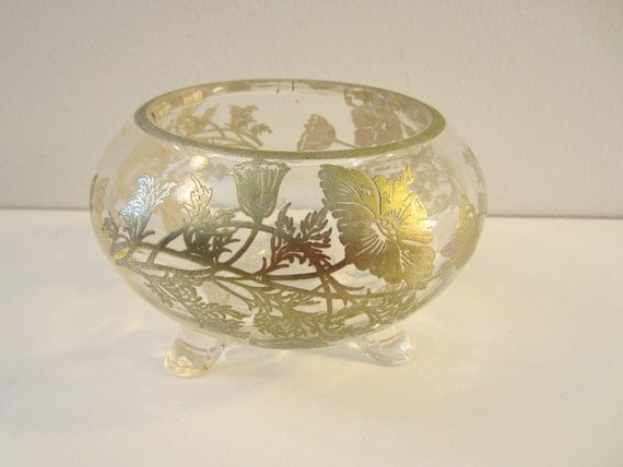 Vintage Viking Glass Flanders Poppy Silver Overlay Footed Bowl