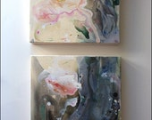 Rose Garden -  Diptych.. Floral Abstract Painting. 12x12 and 12x12