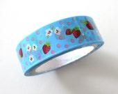 Kawaii Strawberry Blue Flowers - Pattern Deco Tape by glamazon08 on Etsy