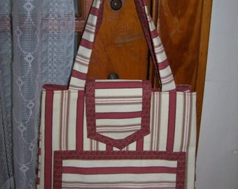 Handcrafted Purse / Tote / Book Bag In Cream, Khaki, and Russet Colors Go Green