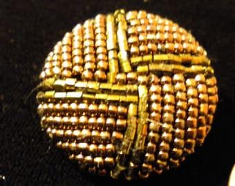 Large Beautiful Bronze Beaded Vintage Coat Button