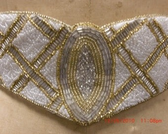Vintage Belt, Art Deco Beaded Belt, Vintage Disco Belt, Circa 1980s