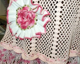 Vintage Crochet Dress Upcycled with Vintage Trims and Doilies