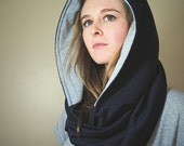 Hooded Infinity Scarf -- Navy Blue, Lined With White