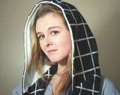 Hooded Infinity Scarf  -- Navy Blue and White Flannel, lined with White Sweatshirt Material