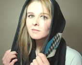 Hooded Infinity Scarf -- Gray Knit With Handmade Geometric Patch