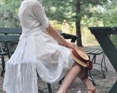 vintage 1920s white lace EDWARDIAN apron dress