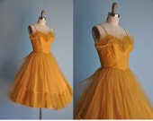 vintage RARE 1950s GOLDEN AGE tulle party prom dress