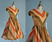 vintage 1950s jules furs jr. Chevron stripe full skirt dress