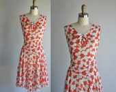 vintage rare 1930s // 30s // Vaudeville drop waist cotton print dress