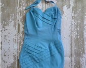35% OFF SHOP SALE..//.. vintage 1950s Sun Bathing bombshell one piece swimsuit