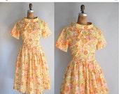 HUGE SALE 35% off..//.. vintage 1960s 60s dress // full skirt floral dress // Golden Flower Fields