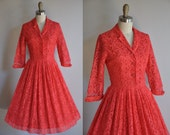 vintage 1950s Stella Rose red lace cocktail dress