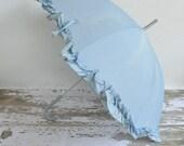 vintage 1960s baby blue umbrella / 60s ruffle umbrella / Darling Dear