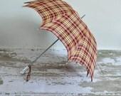 vintage 1940s plaid umbrella / 40s childs colorful rayon plaid umbrella / Puddle Jumper