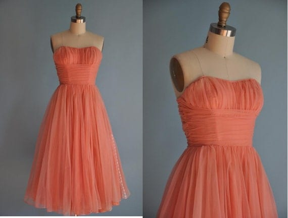 24hr 20 percent off shop SALE..was 235...vintage early 1950s pink SWEETHEART chiffon party dress
