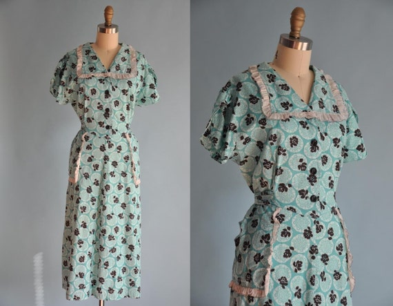 vintage 1940s teal blue ROSE flower ruffle by simplicityisbliss