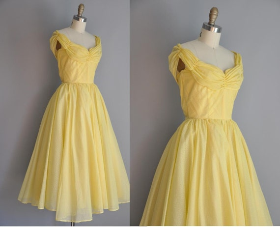 Vintage 1950s Yellow Butter Cup Chiffon Party Prom Dress