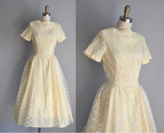 r e s e r v e d...vintage 1950s pastel yellow Lace Princess party prom dress