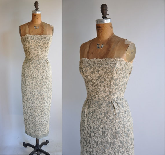 vintage rare 1950s sparkly covered rhinestone Off To Paris bombshell wiggle dress