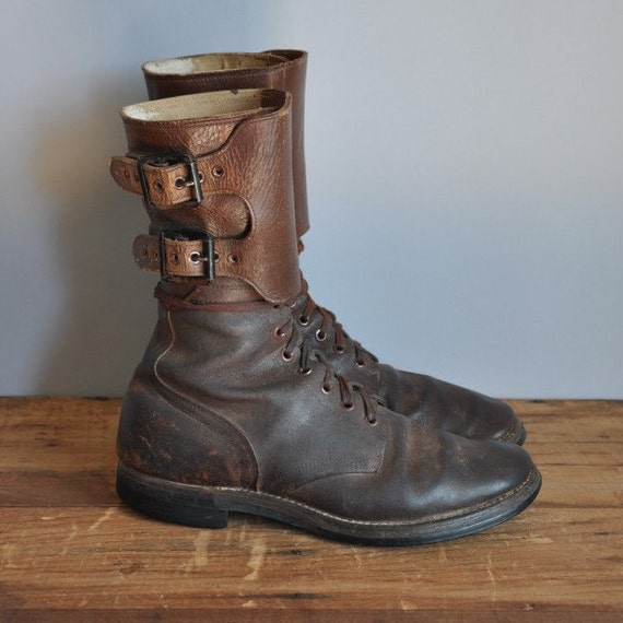vintage rare 1930s WWII leather lace up  buckle combat boots