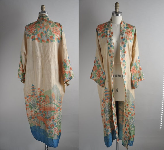 Vintage Dressing Gown: Vintage 1920s Silk Kimono Robe // 20s Lingerie // To Be A