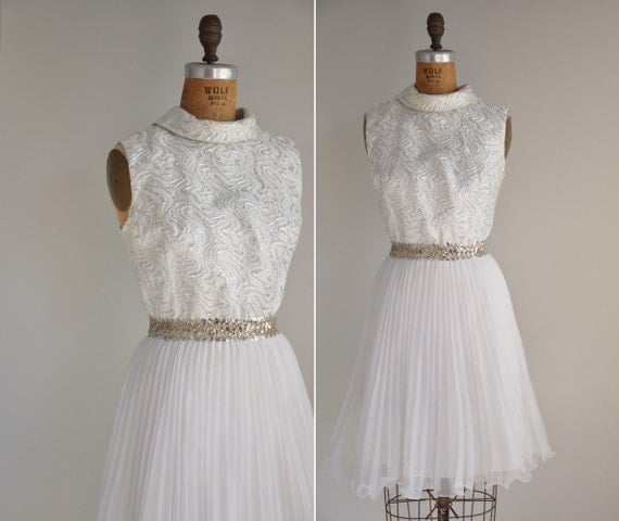 vintage 1960s dress / 60s sliver shimmery brocade dress /When The Ball Drops