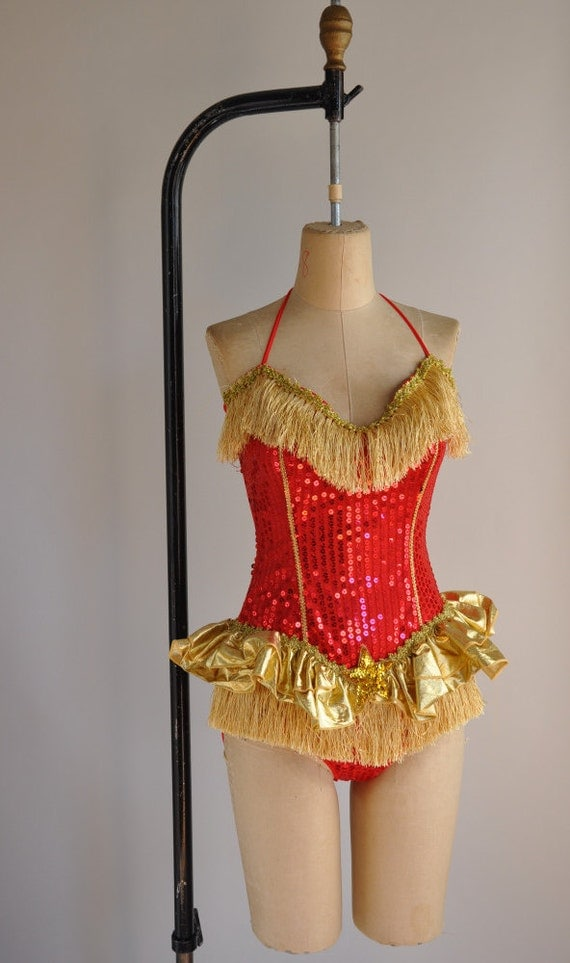 Vintage Rare Showgirl Costume / Red And Gold By