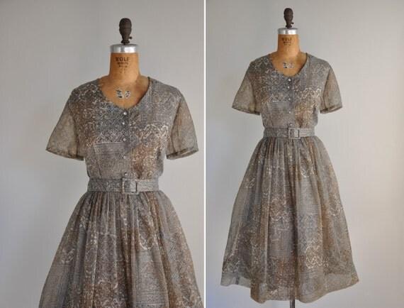 vintage 1950s dress / 1950s 50s brown chiffon full skirt dress / Brooklyn In The Fall