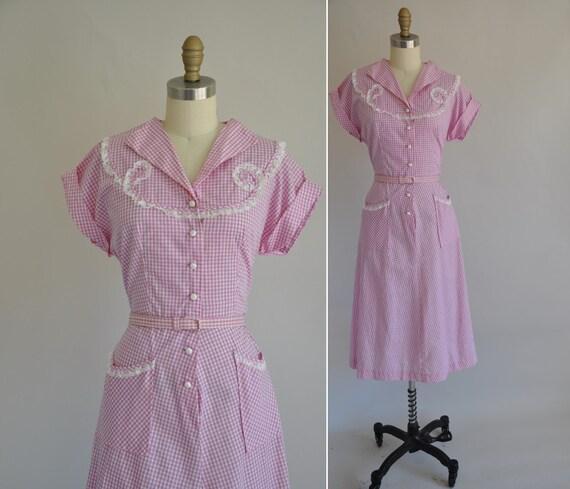 1940s dress / vintage 1940s 40s purple gingham cotton dress / Hello Spring