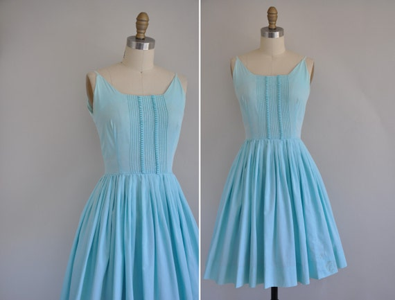 50s vintage dress / 1950s blue cotton full skirt dress / Morning Mist