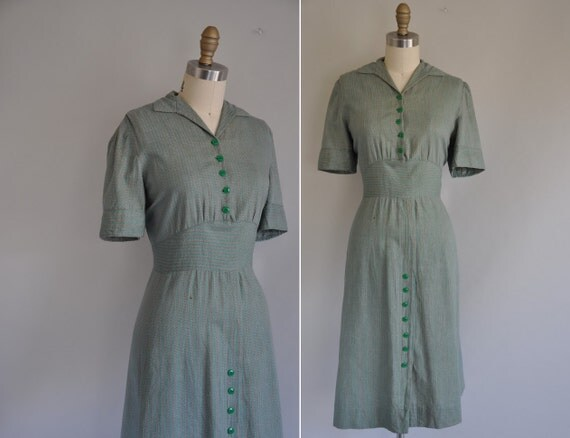 1940s vintage dress / 1940s 40s pinstripe cotton dress / Old Timely Tunes