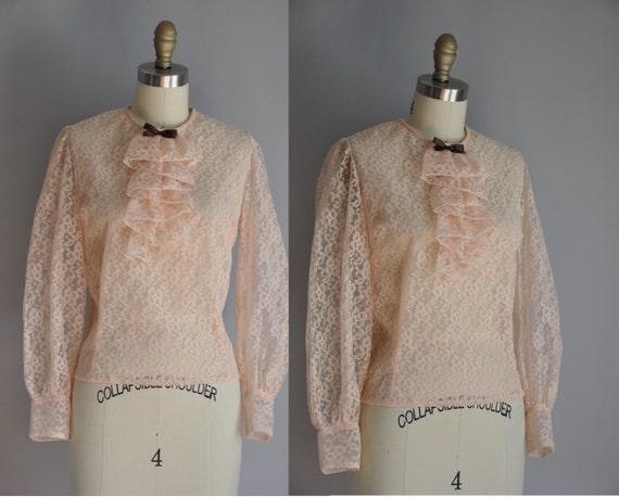 vintage 1950s blouse / 50s pink lace blouse / Old Romance
