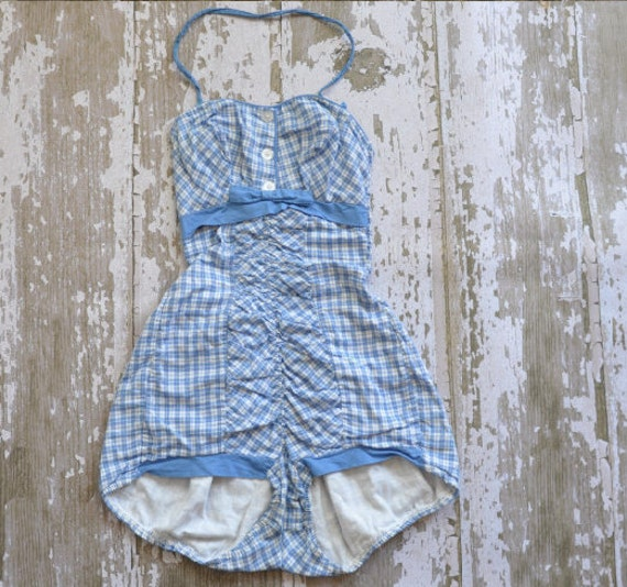 vintage 1950s Baby Doll plaid cotton swimsuit
