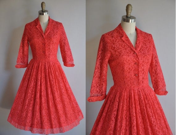 vintage 1950s Stella Rose red lace cocktail dress