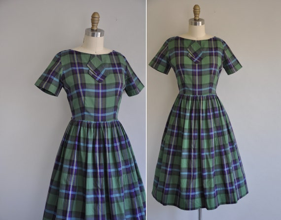 50s dress / vintage 1950s plaid cotton full skirt dress / Summer Bike Rides