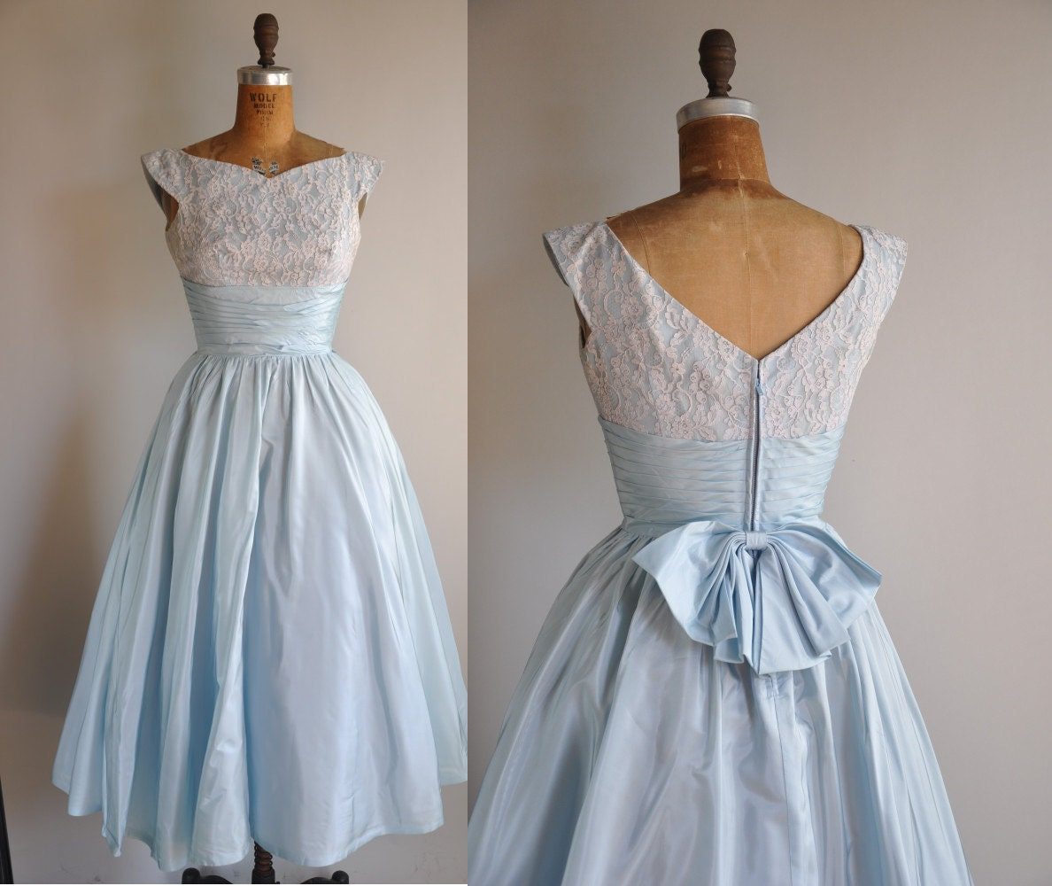 Vintage blue prom dress - Dress on sale