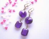 Statement Earrings Chandelier Dangle Purple Crystal