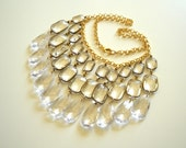 Lucite Crystal Statement Necklace, Icy Transparent Chandelier, Bridal, Wedding