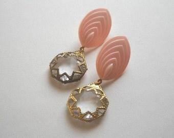 Romantic Long Dangle Golden Pink Earrings