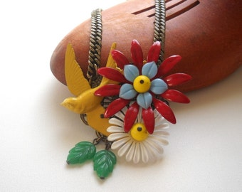 Statement Necklace -Enamel  Swallow Flower collage