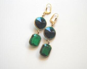 Green Chandelier Earrings Emerald