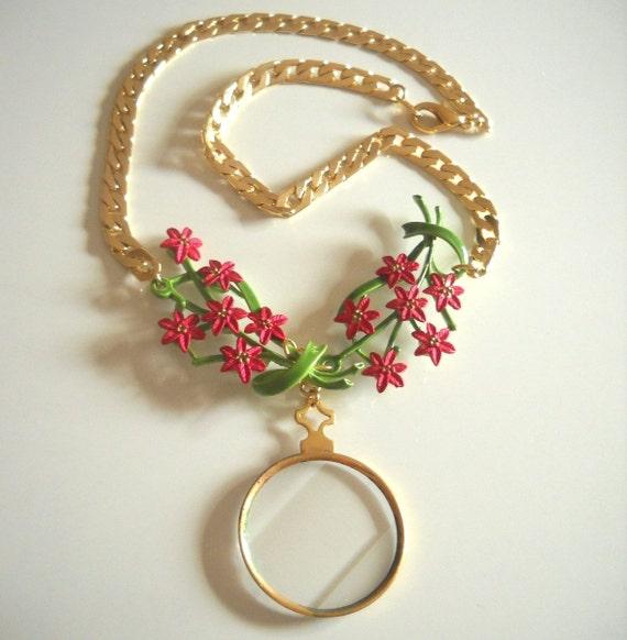 Red Enamel Flower and Vintage Optic Lens Statement Necklace